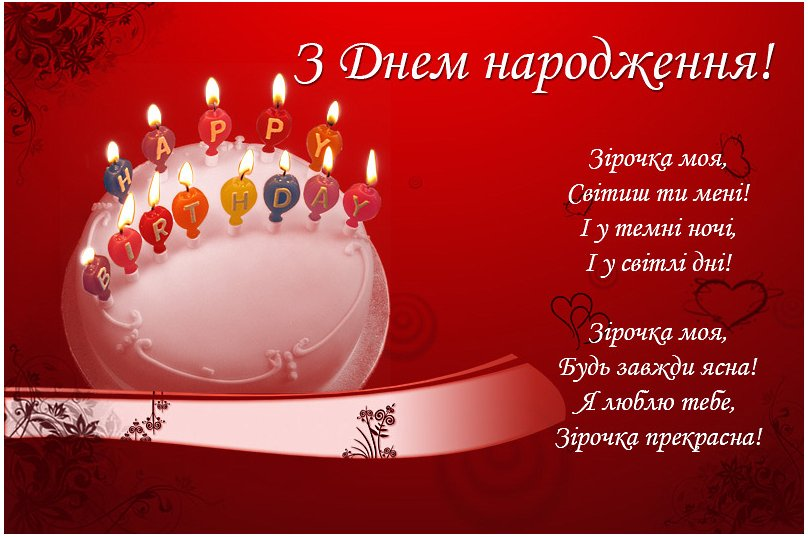 Поздравления с днем рождения любимую на украинском